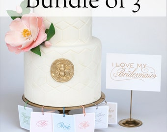 Wedding Cake Charms with Fortune - Bundle of 3 - Bridesmaid Gift