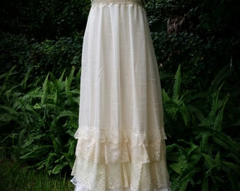Custom boho Wedding dress- bohemian, slip dress, long, floor length, lace, handmade wedding, upcycled, victorian, maxi dress, sun dress