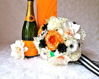 San Francisco Giants Inspired Paper Bouquet - Handmade Paper Flower Wedding Bouquet - Customize your Style and Colors - Made To Order