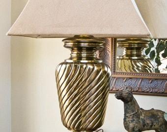 Brass Table Lamp Hollywood Regency Mid Century
