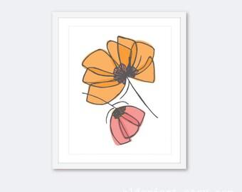 Tulips Art Print - Tulip Wall Art  - Modern Flowers Art Print - Orange Pink - Aldari Art
