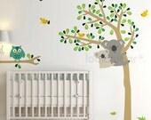 Baby Nursery Wall Decal . Koala Tree Wall Decal . Owl Tree Decal . Animal Wall Decal . Children Wall Decal . LSWD-0058