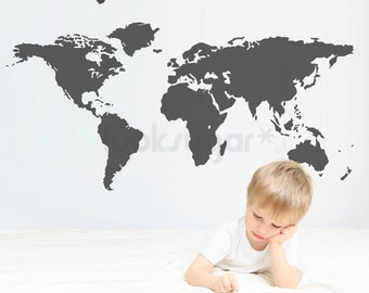 World Map Wall Decal - Large World Map Decal - Children Wall Decal 0111