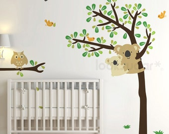 Koala Tree Wall Decal with Owl and Bird decals for Kids, Children, Baby Nursery - 0058