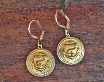 1800s Nautical Picture Button Earrings
