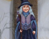 """Periwinkle the Mischievous, Halloween Witch, hand painted, authentic barn wood, 4"""" X 10"""""""