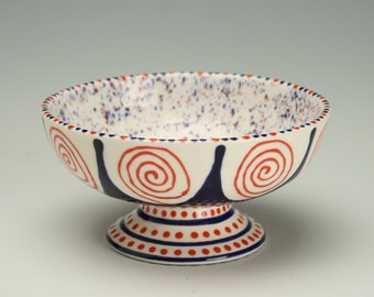 Dessert Bowl with Red and Blue Sprinkle Glaze and Hand Painted Designs Red White Blue Ice Cream Parfait Cup Dinnerware Dish