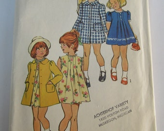 Vintage 1970s Simplicity Pattern 6182 Girls Collarless Dress & Lined Coat Pattern Size 6 Breast 25
