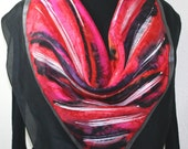 Red Silk Scarf. Black Hand Painted Scarf. Handmade Square Silk Shawl RED SKIES. Square 35x35. Birthday, Bridesmaid Gift. Gift-Wrapped