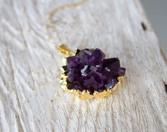 Gold Edged Amethyst Druzy Necklace