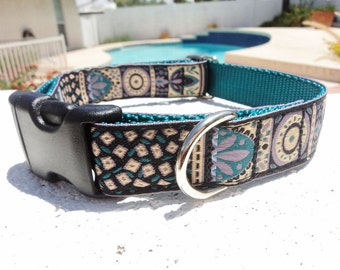 "Dog Collar 1"" width Quick Release or Martingale collar, adjustable Teal Beauty"