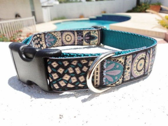 "Dog Collar 1"" width Quick Release or ,Martingale collar, adjustable Teal Beauty"