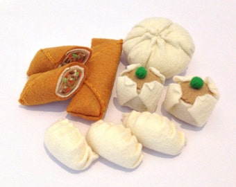 Felt food chinese dim sum set - egg roll, shumai dumpling, gyoza pot sticker, pork bun - eco friendly kids pretend play food for toy kitchen
