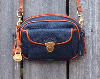 SALE - Vintage Dooney & Bourke Kilty Navy Blue Leather Satchel Purse
