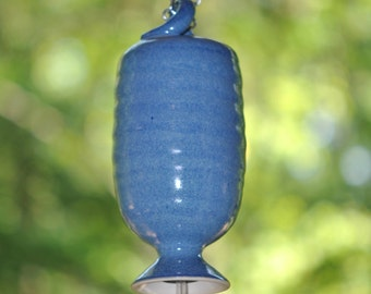 Stoneware Pottery Hummingbird Feeder in Deep Blue