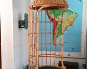 Mid Century Rattan Wicker Hanging Egg Chair