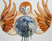 Owl Moon 10'' x 11'' inch watercolor Epson print