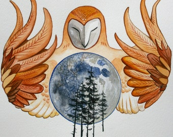 Owl Moon 10'' x 11'' inch watercolor Epson print