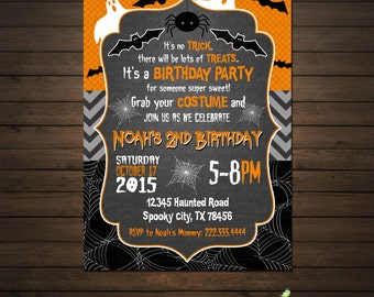 Halloween Birthday Invitation, Printable File, Ghosts and Goblins, Bats, Spiders, Black and Orange Invitation