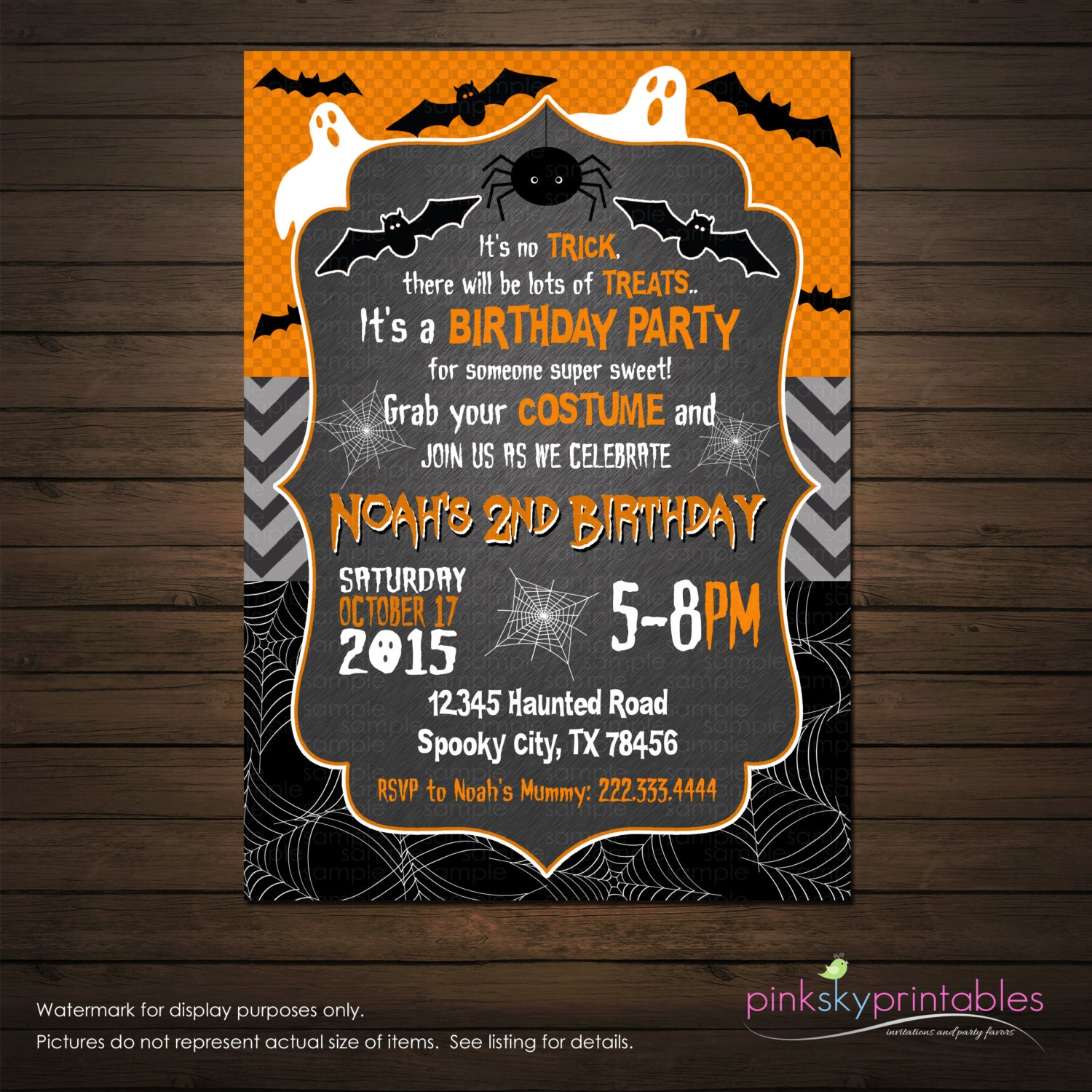 Halloween Birthday Invitation Printable File Ghosts And