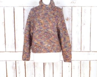 Vintage tan/brown peach chunky wool knit pullover sweater/woven turtleneck sweater/cropped cabin sweater