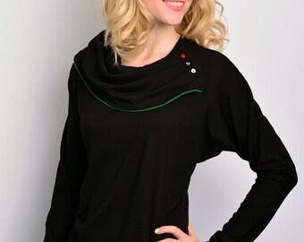 jersey longsleeve - black - dots - buttons