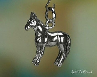 Sterling Silver Mule Charm Farm or Work Animal Hinny 3D Solid .925