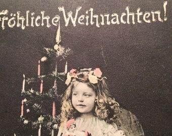 Charming Christmas Postcard - Girl with Christmas Tree - Candles - Toys - Dolll
