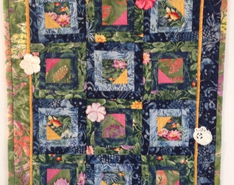 Quilted Wall Art, Small Wall Quilt, Water Elements Quilt, Koi Pond Quilt, Batik Wall Hanging, Quiltsy Handmade