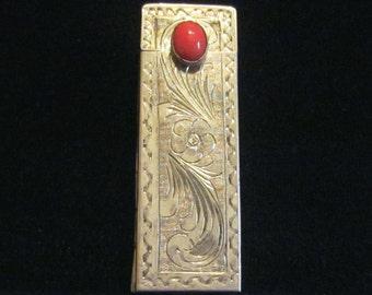 Silver Lipstick Case Italian Lipstick Holder Carnelian Clasp 1910s Compact Case 800 Sterling Silver