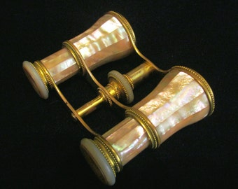 Antique LeMaire Fi Opera Glasses 1800s Paris Binoculars Vintage Mother Of Pearl Theater Glasses With Case EXCELLENT WORKING CONDITION