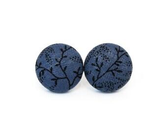 Dark blue stud earrings - button earrings - tiny fabric earrings - black leaves indigo small