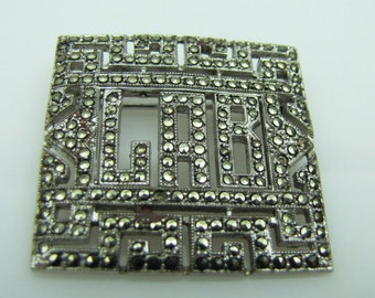 Coro Large Sterling Silver Marcasite Picture Frame Brooch. 1930s Art Deco Geometric Lapel Pin. Vintage Personalized Jewelry Initials LAB