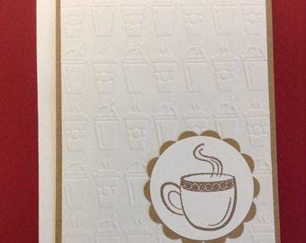 Coffee Card, Coffee Birthday Card, Coffee Thank You Card, Coffee Friends Card, Embossed Coffee Card