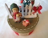 Vintage / Dollhouse Christmas Box / Girl & Puppy / Miniatures / Decor / Ornament / Diorama / Fence / Tree / Presents / Gift / Accessory