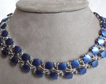 Blue Thermoset Tulip & Rhinestone Choker Necklace