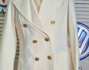 Vintage Womens Jacket/Sport Blazer/Deadstock NWTs/Jack Winter/Ivory White/Double Breasted/70s 80s/Wide Lapel/Gold Button/Polyester/Luxuria