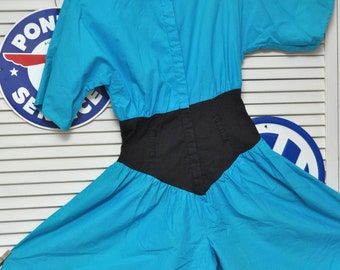 Vintage 80s Womens Colorblock Romper/Jumpsuit/Cornflower Blue Black/Totally Rad Valley Girl/Cinched Waist/Theater Costume/Jamie/Small Shorts