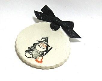 Spoon Rest / Tea Bag Rest - Halloween Witches Brew (OOAK Ceramic Kitchen Decor)