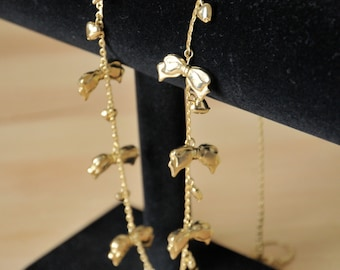 1970s Gold Bows & Hearts Charm Necklace // Long Necklace