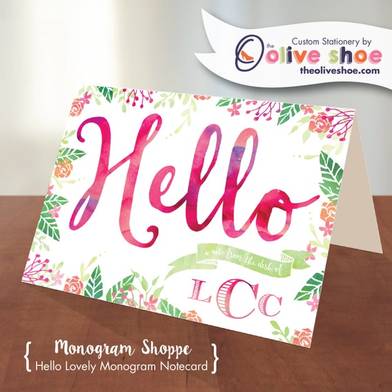 Hello Lovely Monogram Notecard | Thank You Notes | Watercolor | Flowers | Folded or Flat | Includes Envelopes
