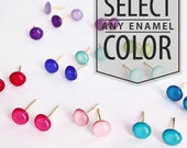 Enameled Post Earrings - Gold or Silver Plated Studs