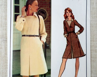 Vintage Pattern Vogue Paris Original 2800 Nina Ricci Bust 32.5 1970s career front pleat skirt belted secretary executive