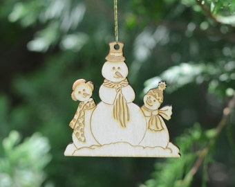 Natural Wood Snow People Ornament