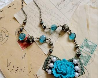 Romantic large aqua blue rose statement necklace, filigree, rhinestone, pearl, and broze bead accents, Ocean's Apart