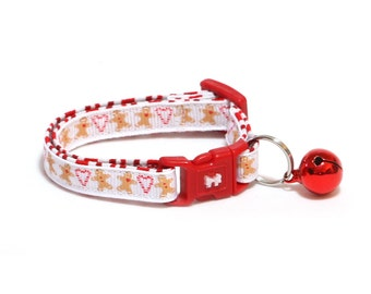 Gingerbread Cat Collar - Gingerbread and Candy Canes on White- Small Cat / Kitten or Large(standard) Size Collar