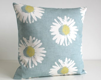 Flower Cushion Cover, 16 Inch Pillow Sham, 16x16 Pillow Cover, Sofa Pillow Cover, Throw Pillow Cover, Decorative Pillow - Daisies Duck Egg