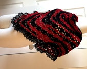 Free shipping, christmas gift under 50 crochet scarf wrap shawl red black wedding shawl accessories winter shawl handmade special design