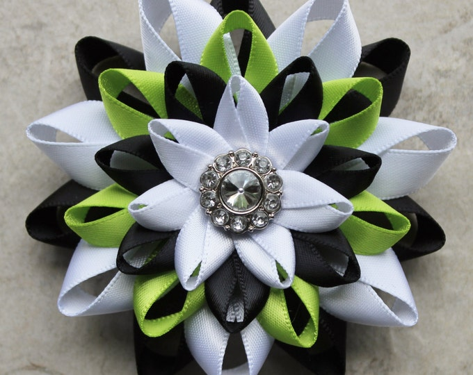 Corsage Pins, Flower Pins, Flower Corsage, Flower Brooch, Mother of the Bride Gift, Mother of the Groom, Wedding Corsages, Black White Lime