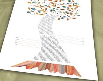 Sale: Ketubah - Swirly Tree of Life, Fall